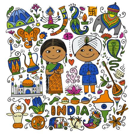 Indian lifestyle. Sketch for your design. Vector illustration Vektorové ilustrace