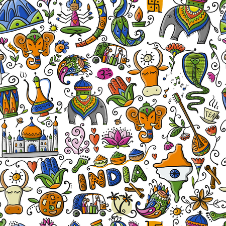 Indian lifestyle. Seamless pattern for your design. Vector illustration Ilustrace