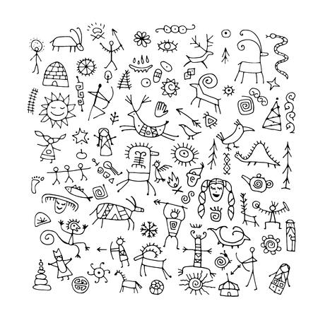 Fondo de pinturas rupestres, boceto de su diseño
