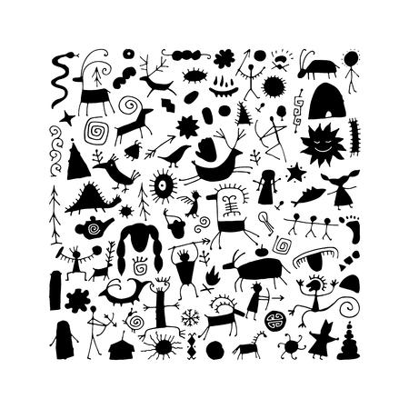 Arrière-plan de peintures rupestres, croquis pour votre conception. Illustration vectorielle