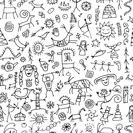 Rock paintings background, seamless pattern for your design Vector Illustration