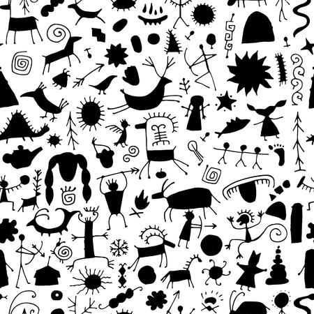 Fond de peintures rupestres, modèle sans couture pour votre conception