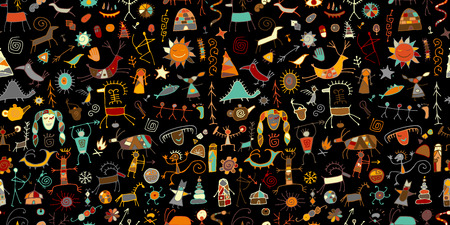 Rock paintings background, seamless pattern for your design Stock Vector - 120866341