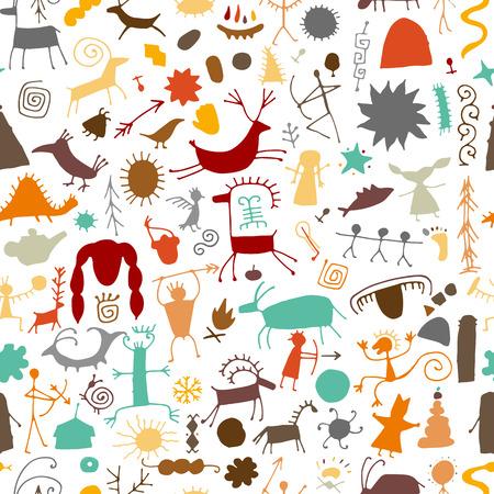 Fondo de pinturas rupestres, patrones sin fisuras para su diseño
