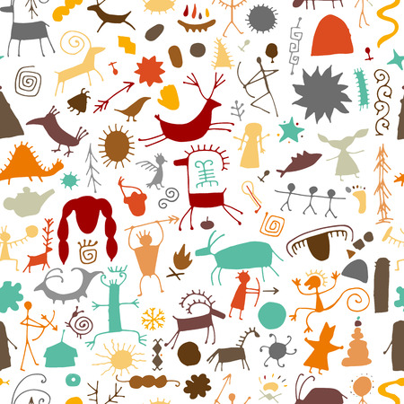 Rock paintings background, seamless pattern for your design