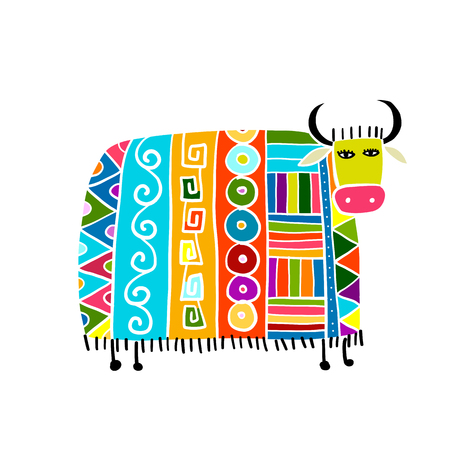 Funny cow, sketch for your design Stock Vector - 120866347