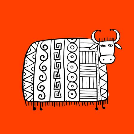Vache drôle, croquis pour votre conception