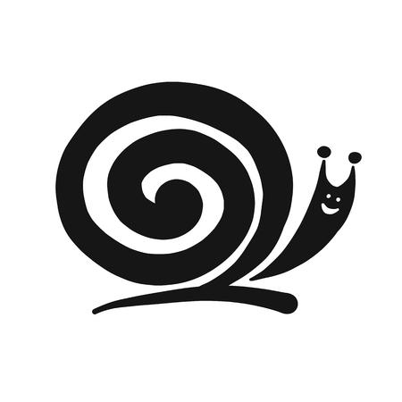 Śmieszny ślimak, czarna sylwetka do swojego projektu