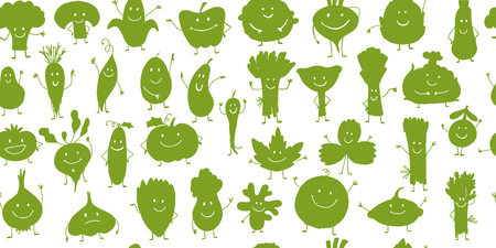 Funny smiling vegetables and greens, characters for your design. Seamless pattern. Vector illustration Vettoriali