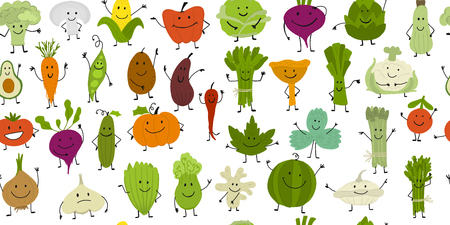 Funny smiling vegetables and greens, characters for your design. Seamless pattern. Vector illustration Ilustracja