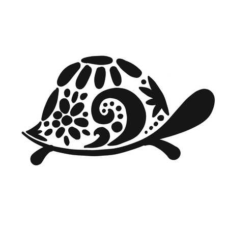 Turtle, black silhouette for your design 矢量图像