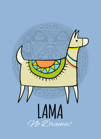 Cute lama character. Greeting card for your design  イラスト・ベクター素材