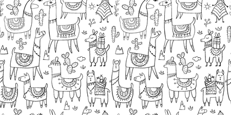 Cute lamas, seamless pattern for your design. Vector illustration