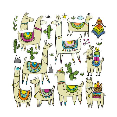 디자인을 위한 귀여운 라마 컬렉션 벡터 (일러스트)