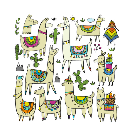 Cute lamas collection for your design
