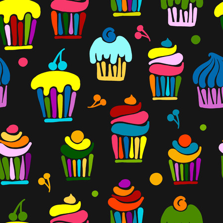Cupcakes collection, seamless pattern for your design. Vector illustration Illustration
