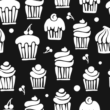 Cupcakes collection, seamless pattern for your design. Vector illustration Иллюстрация