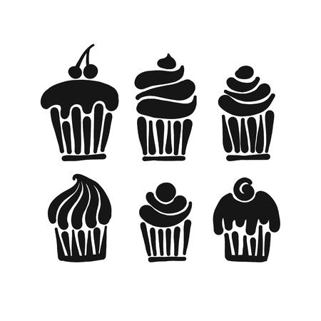 Cupcake collection for your design. Vector illustration Ilustração Vetorial