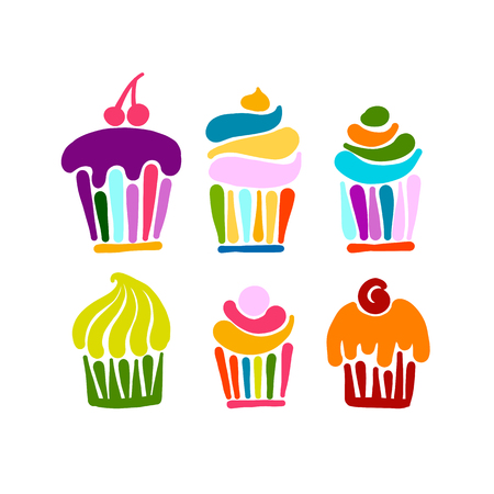 Cupcake collection for your design. Vector illustration Çizim