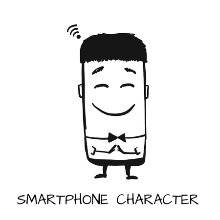 Smartphone character, sketch for your design. Vector illustration Иллюстрация