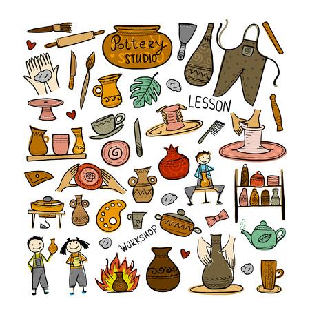 Pottery studio, background for your design. Vector illustration