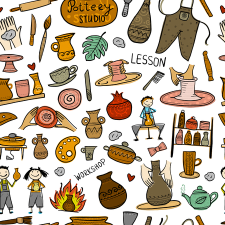 Pottery studio, seamless pattern for your design. Vector illustration
