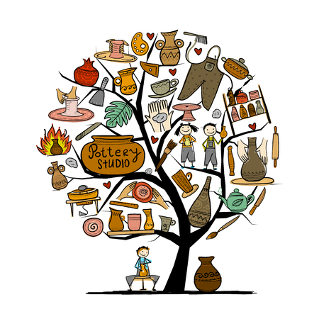 Pottery studio, concept tree for your design. Vector illustration