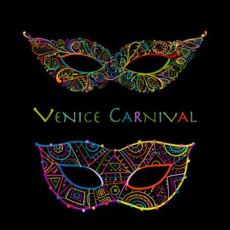 Carnival venetian mask ornamental for your design. Vector illustration