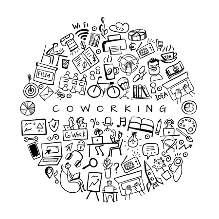 Coworking space, concept background for your design. Vector illustration Banque d'images - 123522827