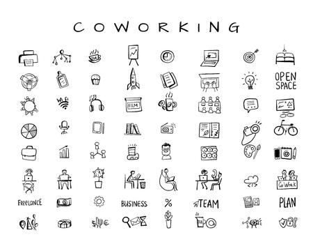 Spazio di coworking, set di icone per il tuo design. Illustrazione vettoriale Vettoriali