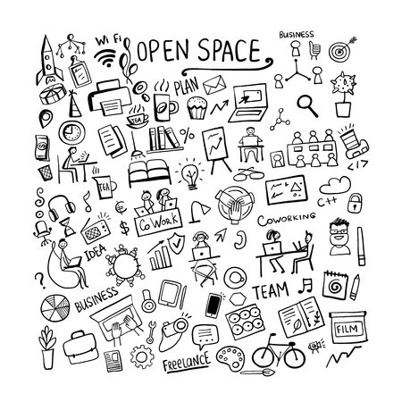 Coworking space, concept background for your design. Vector illustration Banque d'images - 123522829