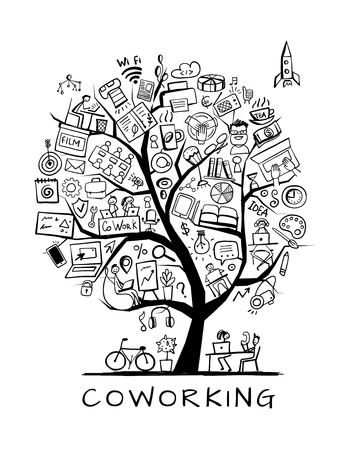 Coworking space, concept tree for your design. Vector illustration