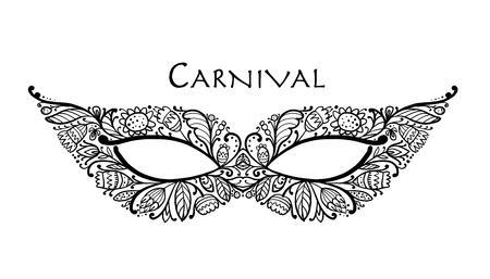 Máscara veneciana de carnaval ornamental para su diseño. Ilustración vectorial