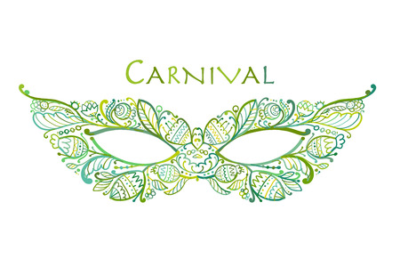 Carnival venetian mask ornamental for your design. Vector illustration