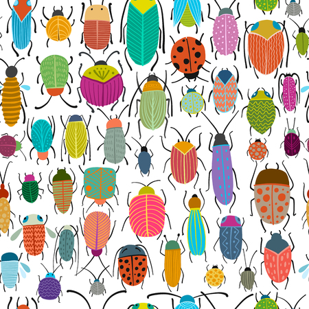 Colección de escarabajos divertidos, patrones sin fisuras para su diseño Ilustración de vector