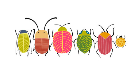 Funny beetles, bugs character for your design