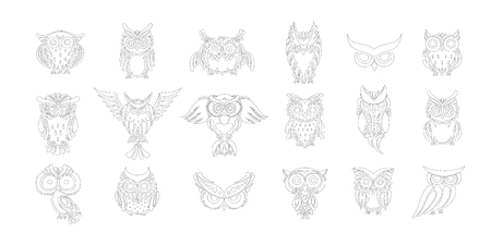 Cute owls collection, coloring page for your design Illustration
