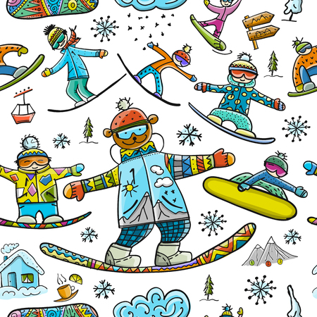 Snowboard time, seamless pattern for your design. Vector illustration 일러스트
