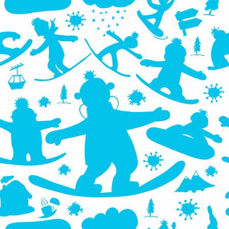 Snowboard time, seamless pattern for your design. Vector illustration 向量圖像