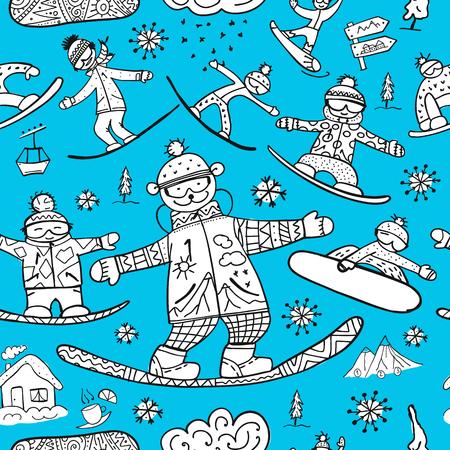 Snowboard time, seamless pattern for your design. Vector illustration Illustration