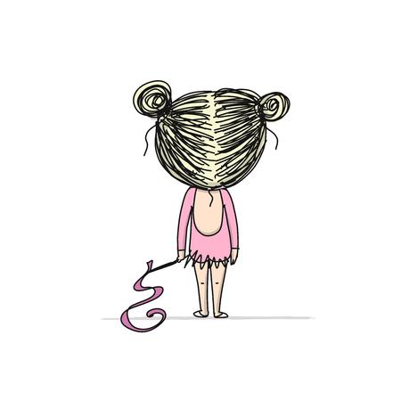 Rhytmic gymnastic. Cute girl, sketch for your design. Vector illustration