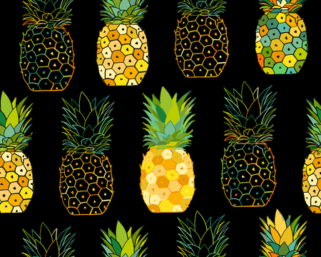 Pineapple set, sketch for your design. Vector illustration Иллюстрация