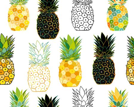 Conjunto de piña, boceto de su diseño. Ilustración vectorial