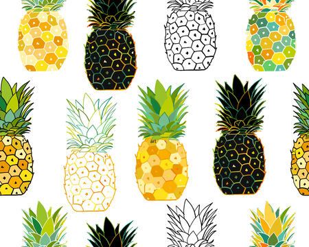 Pineapple set, sketch for your design. Vector illustration Çizim