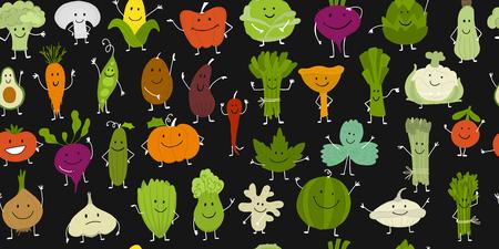 Divertenti verdure e verdure sorridenti, personaggi per il tuo design. Modello senza soluzione di continuità. Illustrazione vettoriale Vettoriali
