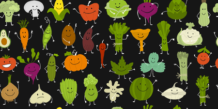 Funny smiling vegetables and greens, characters for your design. Seamless pattern. Vector illustration Çizim
