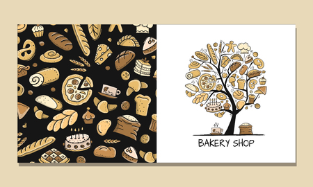 Greeting cards, design idea for bakery company. Vector illustration