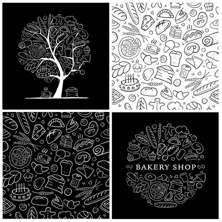 Bakery set, logo and pattern for your design. Vector illustration Ilustrace