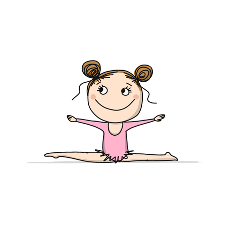 Rhytmic gymnastic. Cute girl, sketch for your design. Vector illustration