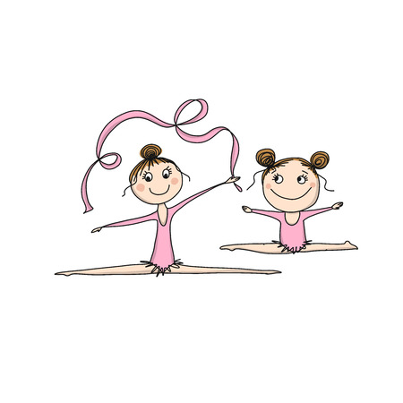 Rhytmic gymnastic. Cute girls, sketch for your design. Vector illustration Illusztráció